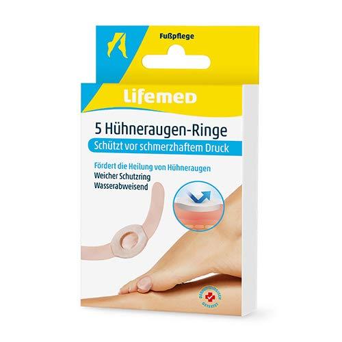 Lifemed - 5 ringen voor kippenogen huidskleur - beschermt tegen pijnlijke druk en bevordert de genezing, verpakking van 3 (3 x 1 stuks)