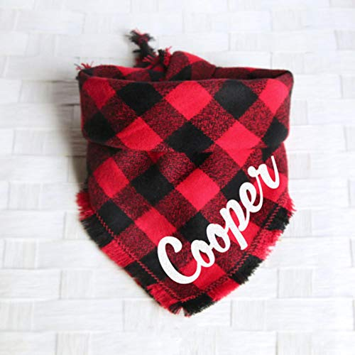 Black Red Buffalo Plaid Bandana - Tie on Classic Flannel Pet Bandana Scarf, Pet Fashion Scarf, Dog Bandana Scarf, Cat Bandana Scarf
