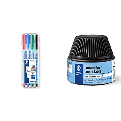 STAEDTLER Lumocolor 305F WP4-1. Rotulador borrable de punta fina + Lumocolor 487 05-9 Cargador para bolígrafos correctores 305, color negro