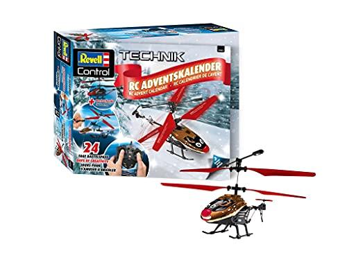 Revell 1033 RC Adventskalender Helikopter mit Fernbedienung, 2.4 GHz, LED-Beleuchtung, Gyro, inkl. Batterien Zubehör, Rot