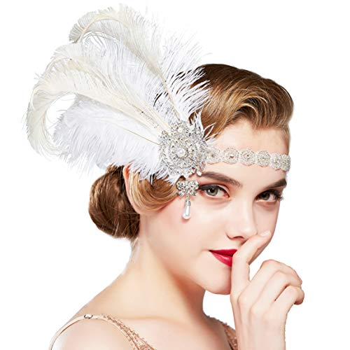 BABEYOND 1920s Flapper Headband Vintage Wedding Feather Headpiece 20s Great Gatsby Hair Accessories with Pearl (White)