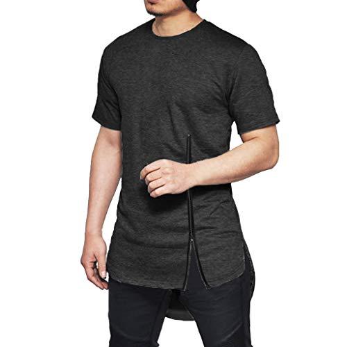 Floweworld Herren Tops Neue Mode Für Männer Sommer Feste Brust Reißverschluss T-Shirt Lässige Kurze Ärmel Baumwolle Side Split Bluse