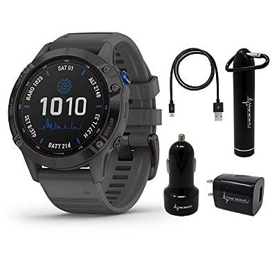 Garmin Fenix 6 Pro Solar Premium Multisport GPS Smartwatch with Included Wearable4U Power Pack Bundle (Black w/Slate Gray Band)