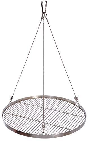 50 cm Grillrost Edelstahl für Schwenkgrill 3 Bein BBQ Grill Rost mit Seil 10 mm Stababstand