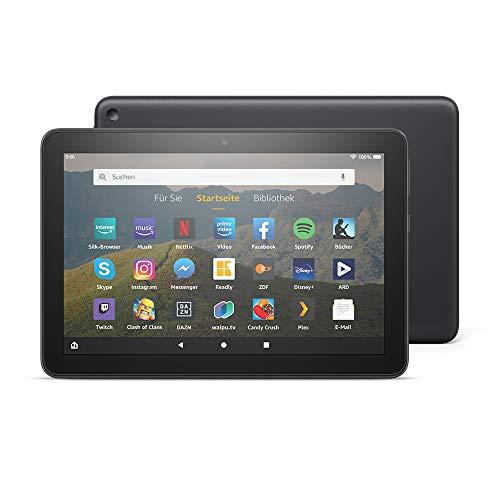 Fire HD 8-Tablet, 8-Zoll-HD-Bildschirm, 32 GB, Schwarz, Ohne Werbung, für Unterhaltung unterwegs