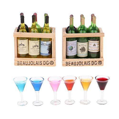 Amuzocity 1/12 Botellas en Miniatura con Copas de Cóctel Vasos Pub Bar Decoración DIY Modelo de Juguete