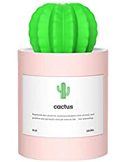 Pawaca Mini-luchtbevochtiger, 280 ml, cactusvorm, USB-aangedreven, werkt op batterijen, draagbaar, mini-luchtbevochtiger met automatische uitschakeling voor kantoor, bureau, slaapkamer, tafel