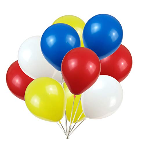 KADBANER 12 inch Latex Balloon White Yellow red Blue 100 pcs
