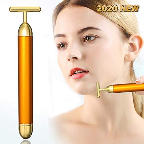 Beauty Bar 24k Golden Pulse Facial Massager Barra de belleza dorada Rodillo T-Shape Electric Sign Face Massage Tools for Sensitive Skin Face Pull Tight Firming Lift