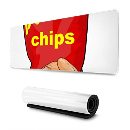 Potato Chips Cute Kawaii Food Gaming Desk Mousepad 31.5x11.8 Inch Wide & Long Custom Gaming Mousepad For Computer/Laptop
