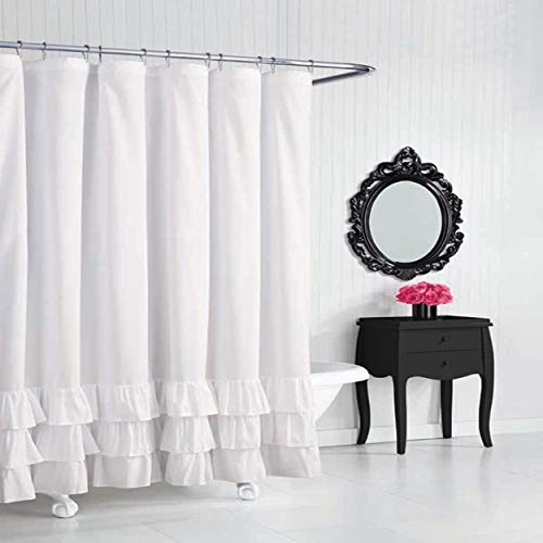 Betsey Johnson Solid Microfiber Shower Curtain, 72x72, White
