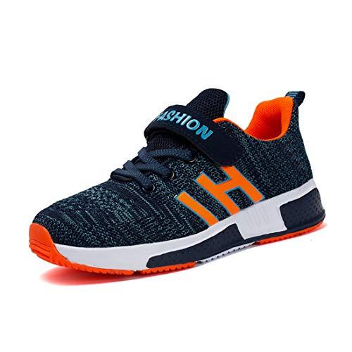 Goalsse Kinder Schuhe Jungen Outdoor Mode Casual Sport Schuhe Klettverschluss Low-Top Turnschuhe Indoor Anti-Slip Ultraleicht Atmungsaktiv Sneakers (31 EU, Blau) …