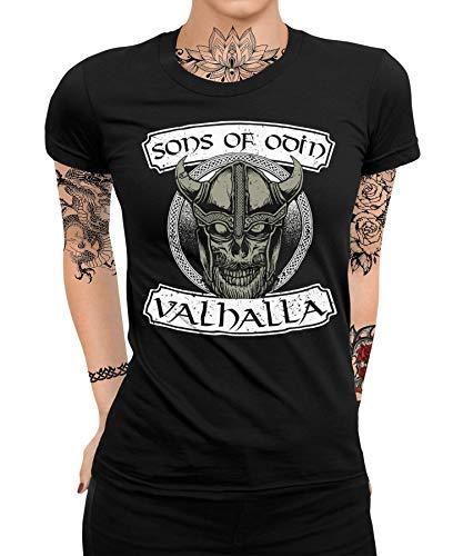 Wikinger Viking Valhalla Odin Thor Nordmann Wolf Nordische Mythologie Skal Norse Frauen Damen T-Shirt