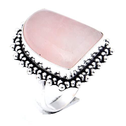 Pink Botswana Agate! Girls Ring, Sterling Silver Plated Handmade Art Jewelry! Full Variety Store for Wedding Anniversary Birthday Party Gift, Ring Size 9 US