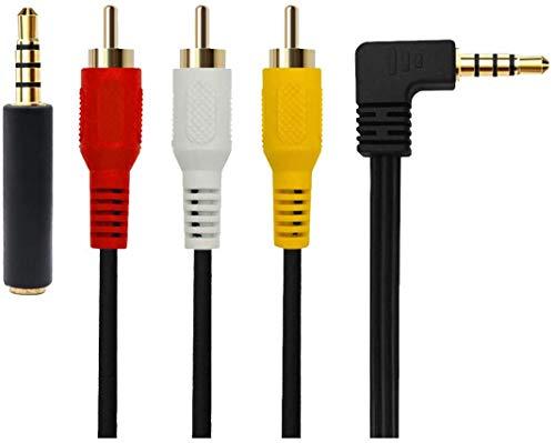 3,5 mm auf 3 RCA AV Camcorder Video Kabel für TV-Box /MP3/PC, 3,5 mm auf 3 RCA Stecker zu Cinch Stereo Audio Video Stecker AUX Kabel 90 Grad gebogener Kopf, Mit Abschirmung 1,5 m