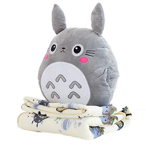 HJCC Mi Vecino Totoro Calentador De Manos Almohada Manta Edredón Cojín De Felpa Almohada para La Siesta Sostenga La Almohada Tres En Uno,Gris