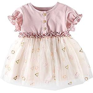 Fairy Baby ベビーワンピース チュチュドレス チュールスカート 半袖 女の子 夏 プリンセス風 (90, ピンク-半袖)