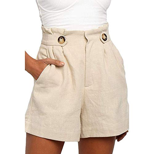 Pantaloncini Corti Donna, Vita Alta Bermuda Sportivi Estate Shorts per Palestra Fitness Jogging Running Yoga Leggins Pantaloncini Corti Beige XL