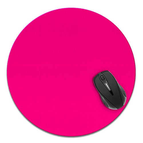 Super Size Round Mousepad, FINCIBO Large Mouse Pad for Home, Office and Gaming Desk, Solid Hot Pink
