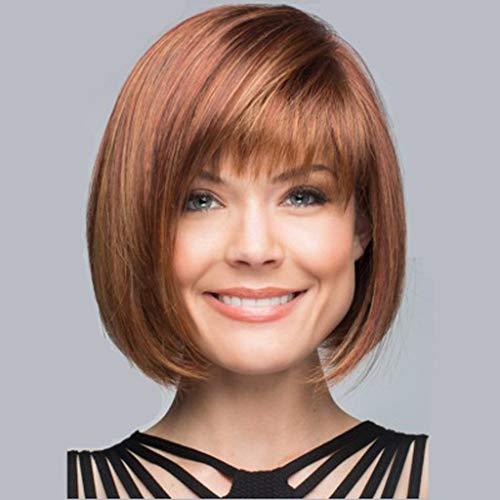 Perruque Naturelle Femme Angelof Courte Carré Lisse la Bob éPais Mode Disco Hair Cosplay