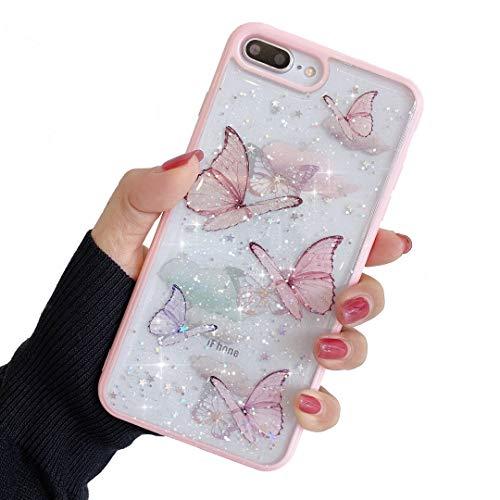 ZTUOK, custodia compatibile con iPhone 7 Plus/8 Plus, per ragazze, morbida e sottile, protezione completa e carina, con motivo a farfalla, per iPhone 7 Plus/8 Plus, colore: rosa