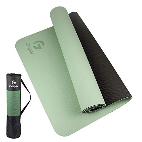 Gruper TPE Yoga Mat ,Pro Yoga Mat Eco Friendly Non Slip Fitness Exercise Mat with Carrying Strap,Workout Mat for Yoga, Pilates and Floor Exercises (Matcha green + Black, Thickness-6mm(1/4 inch))