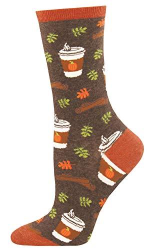 "Socksmith Womens Novelty Crew Socks""Pumpkin Spice Up Your Life"" (Brown Heather)"