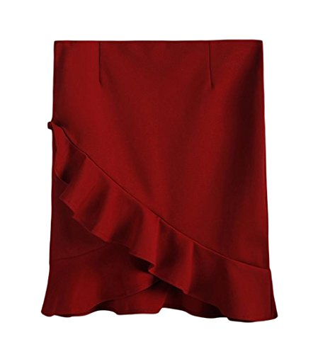 Tootless Women Plus size Wear to Work Empire Waist Pencil Mid Skirt Wine Red XXL