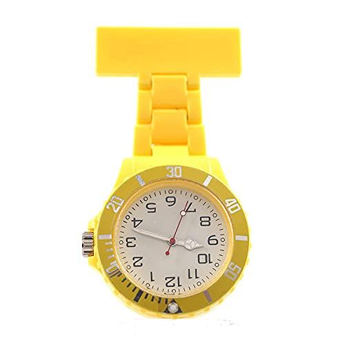 YYMY Colgante médico Reloj de Bolsillo,Hangar Neutral Grande médico, Enfermera, Ruido, Mesa de Cofre de Ruido, Amarillo