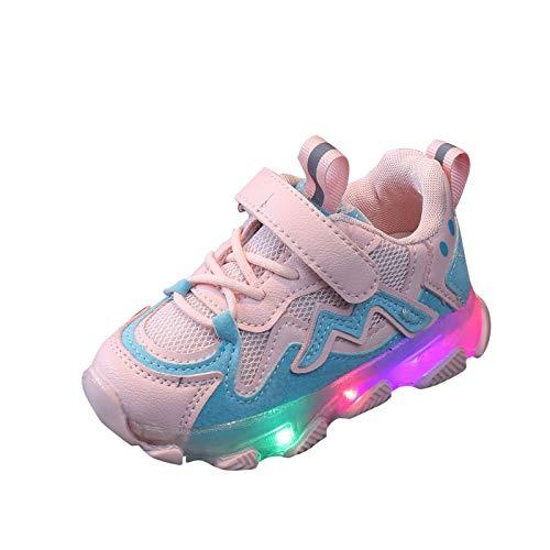 FACAIAFALO Baby Kinderschuhe LED Mädchen Jungen, Licht Turnschuhe Leuchtend Blinkschuhe Sportschuhe, 22EU-29EU 1-6 Jahre (03#Rosa, Numeric_26)