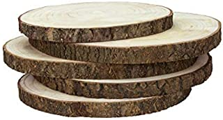 Karavella Large Wood Slices for Centerpieces - 5 Pack Wood Centerpieces for Tables, 10 to 13 inches, Rustic Decor Wood Rounds, Natural Wood Slabs for Weddings, Wood Cake Stand, Rustic Home Decor