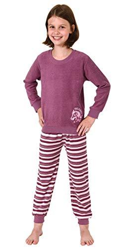 Mädchen Frottee Pyjama Schlafanzug Langarm mit Bündchen und Pferd als Motiv - 291 13 571, Farbe:Beere, Größe:170/176