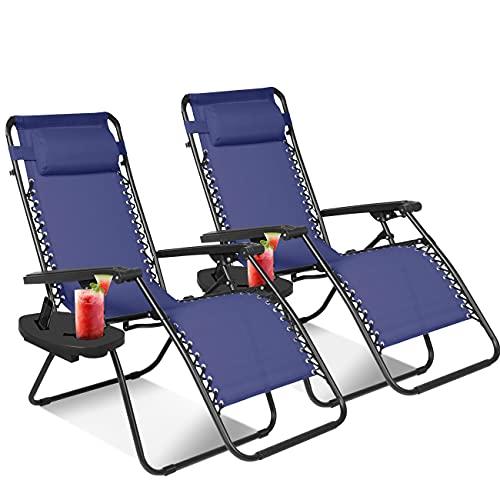 KEPLIN Set of 2 Heavy Duty Textoline Zero Gravity Chairs   Garden Outdoor Patio Sun Loungers   Folding Reclining Chairs   Lounger Deck Chairs (NAVY)