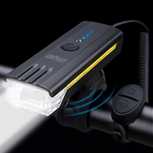 JieLuoTE 450 Lumens 1200mAh Bike Lights Set, USB Rechargeable Bicycle Lamp, Waterproof LED Safety Flashlight Cycling Accessories Cycling Headlight and Horn, for Men Women Kids Road Mountain Cycling