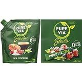 PURE VIA - Doypack Poudre Cristallisée - Stevia - Zéro Calorie - 250g & Boîte 40 sticks - Stevia - Zéro Calorie