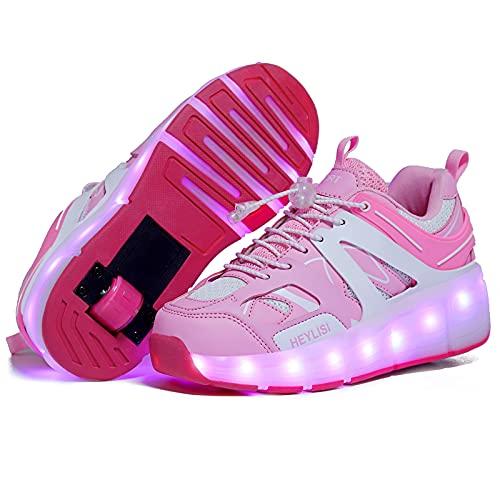 GGBLCS Zapatos con Ruedas para Niño Niña Zapatillas con Ruedas Led Luces Se Puede Bambas Carga con USB Automática Calzado de Skateboarding,Pink 1,30 EU