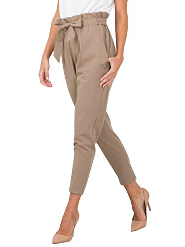 BerryGo Women's Casual Loose High Waist Stretchy Skinny Slim Long Pants (Light Tan,S)