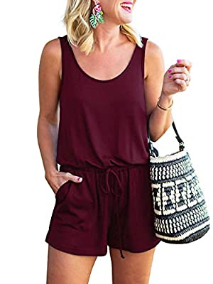 ANRABESS Women Jumpsuits for Summer Short Romper with Pockets A209jiuhong-M