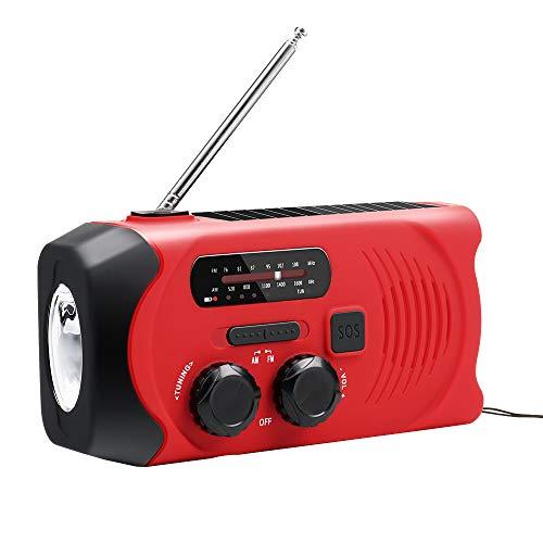 Wimaha 防災ラジオ 非常用照明器具 ラジオライト 手回し充電 USB充電 2000mAH地震 震災 津波 台風 停電緊急対策 iPhone Android スマホ充電対応可能 手回しラジオ ソーラー充電 日本語説明 赤色