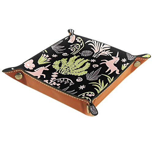 Bandeja de valet Organizador de escritorio Caja de almacenamiento Bandeja de recogida de plantas de unicornio de cuero para uso doméstico