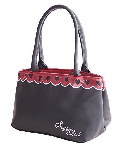SugarShock Nadette Damen Rockabilly 2-tone Handtasche, Farbe:Schwarz