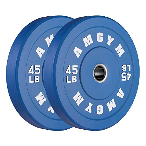 AMGYM Color Olympic Bumper Plate, Weights Plates, Bumper Weight Plate, Steel Insert, Strength Training, Pair