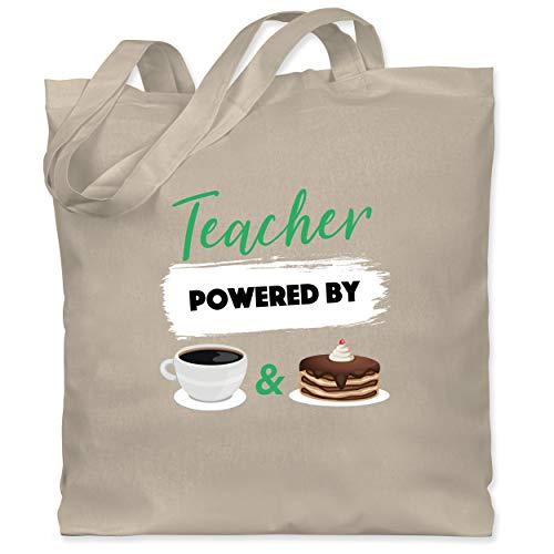 Lehrer - Teacher powered by coffee & cake - Unisize - Naturweiß - stoffbeutel lehre - WM101 - Stoffbeutel aus Baumwolle Jutebeutel lange Henkel