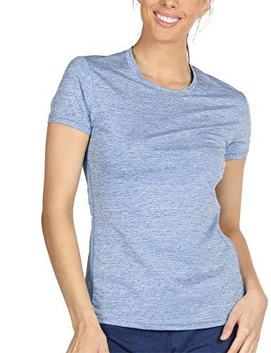 icyZone® Damen Sport T-Shirt Running Fitness Shirts Sportbekleidung Kurzarm Oberteile Shortsleeve Top M Blue Heather