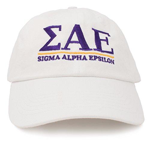Sigma Alpha Epsilon | Classic SAE Fraternity Line Baseball Rush Frat Hat Cap White