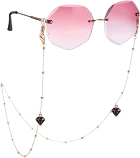 LIKGREAT سلسلة النظارات للنساء قناع الوجه لينك سلاسل نظارة شمسية حزام حامل KC مطلي بالذهب