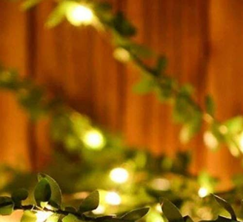 Solar Lantern Green Leaf Simulation LED Light String Garland Solar Copper Wire Decorative Rattan Green 10 Meters 100 Lights