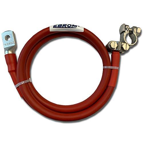 EBROM Batteriekabel (KFZ) Kabel mit Polklemme (+) Anschluss links, 16 mm² rot, konfektioniert + Schrumpfschlauch, ab 30 cm bis 2 Meter, Ringösen/Kabelschuhe M6/M8/M10/M12/ohne - 16mm2 (16 mm2)