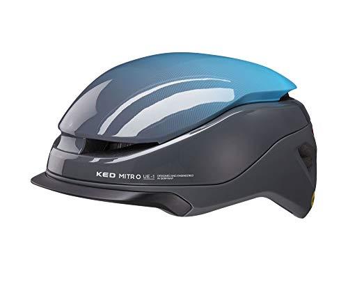 KED Mitro UE1 M Blue Grey - 52-58 cm - inkl. RennMaxe Sicherheitsband - Fahrradhelm Skaterhelm MTB BMX Erwachsene Jugendliche