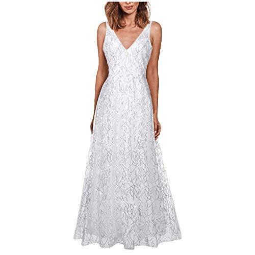 Tsmile Women's V Neck Sleeveless Gown Backless Elegant Beaded Mesh Elegant Sequin Long Dress Party Prom Wedding
